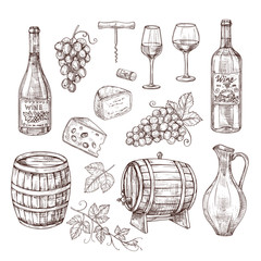 Sketch wine set. Grape, wine bottles and wineglass, barrel. Hand drawn vintage alcoholic beverages vector set. bottle, wineglass and wine alcohol beverage illustration