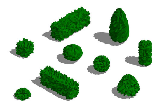 Set of different bushes. 3D low poly vector illustration.