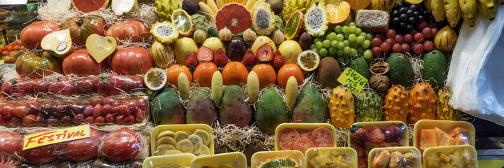 Ripe variety of fruits on sale in the market