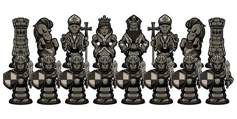 Chess Cartoon Figures Black