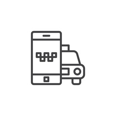 Mobile phone with taxi car line icon. linear style sign for mobile concept and web design. Taxi cab ordering app outline vector icon. Symbol, logo illustration. Pixel perfect vector graphics