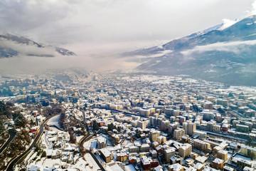Valtellina (IT) - Sondrio - Vista aerea verso est