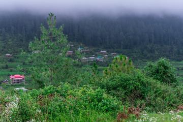 A beautiful village in himalayas, sainj valley, himachal pradesh, india
