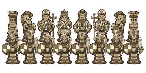 Chess Cartoon Figures White