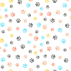 Dog Paw seamless pattern vector footprint kitten puppy tile colorful background repeat wallpaper cartoon isolated illustration white - Vector.