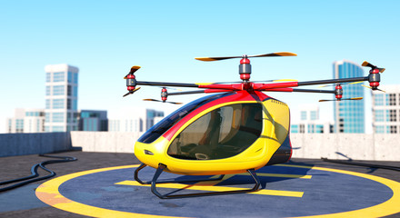 Electric Passenger Drone staying on the top of a building