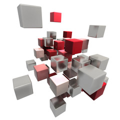 Flying red and metallic cubes