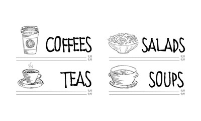 Cafe or restaurant menu template with cup of hot coffee and tea, bowl of tasty salad and soup. Hand drawn vector design