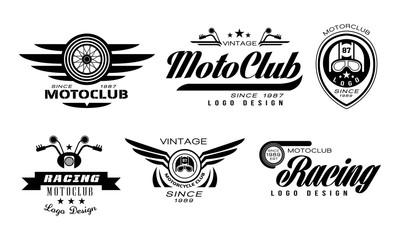 Vector set of original emblems for moto racing club. Vintage logos with wheels, helmets and motorcycle handlebars