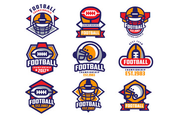 Collection of colorful American football logo. Labels with oval-shaped rugby balls and protective helmets. Sports emblems. Flat vector design for team badge