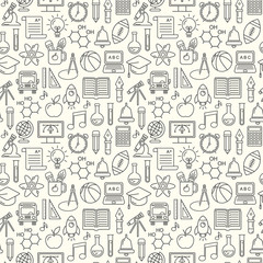 Seamless vector school background. Education pattern with modern line style outline  icons.