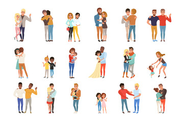 Set with hugging people. Friends, girlfriends, brothers, mothers and kids, couples in love. Cartoon characters with happy faces. Flat vector design