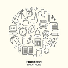 Vector school background. Education pattern with modern line style outline  icons.