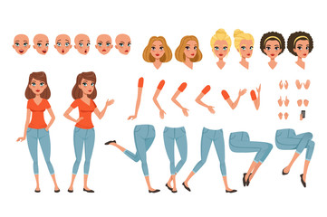 Young woman character creation set, girl with various views, faces, hairstyles, poses and gestures cartoon vector Illustrations