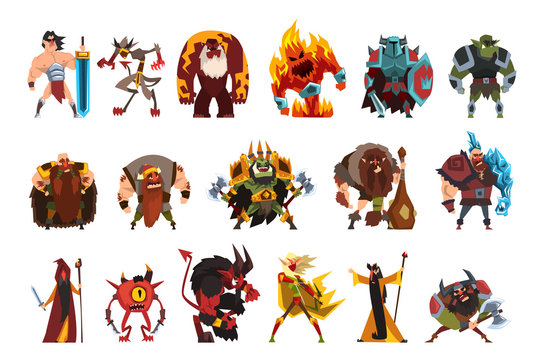 Fantasy creatures and humans. Orc, warrior in armor, fire monster, snake, viking, giant, wild man. Colorful flat vector design elements for mobile computer game