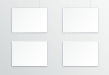 A3, A4 horizontal blank picture frame for photographs. Four Picture in the gallery with suspension . Isolated picture frame mockup template on gray background. Paper-stretched tablet. Vector