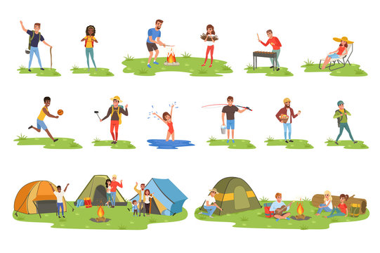 Camper people set, tourists traveling, camping and relaxing vector Illustrations