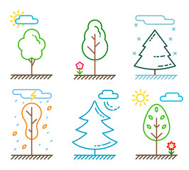 Ecological icon set. Nature and plants. Different kinds of trees. The weather and times of the year. Flat colorful vector illustrations, line art. Eco theme