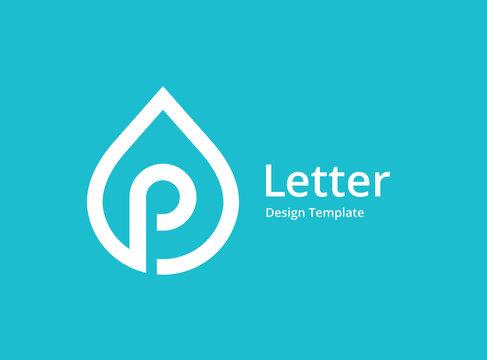 Letter P water drop logo icon design template elements