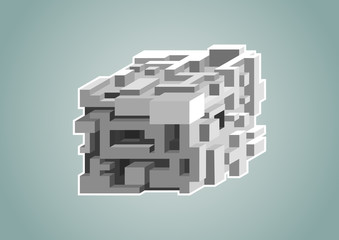 Complexity concept with isolated 3D cube as vector illustration