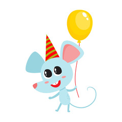 Vector illustration of cartoon funny mouse isolated on white background.