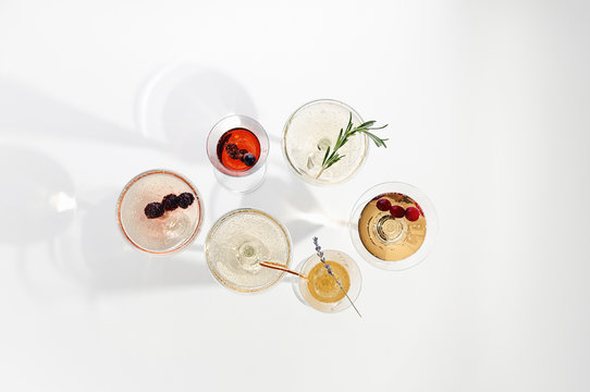 Six easy Champagne cocktails on white background