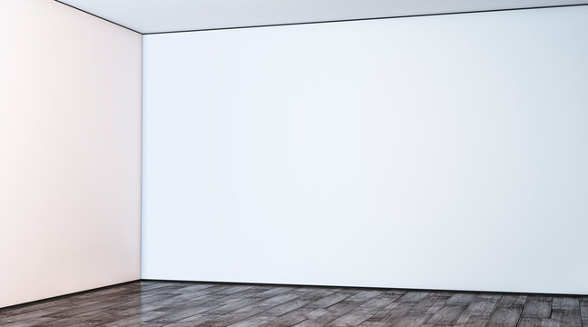 Blank white large gallery wall corner in hall mockup, 3d rendering. Empty hall angle and floor mock up. Clear lobby interior with art display template. Indoor sunny space.