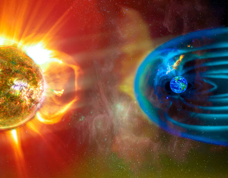 The Sun-Earth connection space weather. Blasts of perticles and magnetic field from the sun impact magnetosphere. Magnetic bubble around the Earth. Elements of this image furnished by NASA.