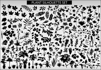 A set of silhouettes of various plants on a light gray backgroun