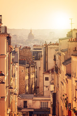 Fototapete - Panorama of Paris, view from the hill of Montmartre, in Paris France