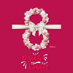 Polish International Women's Day Vector - Happy Women's Day. 8 march international women's day greeting card.