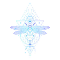 Vector illustration with hand drawn dragonfly and Sacred geometric symbol on white background. Abstract mystic sign. Colored linear shape.
