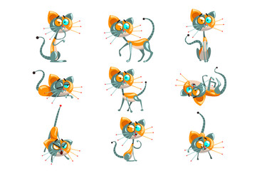Cute robotic cat set, funny robot animal in different actions vector Illustrations on a white background