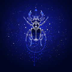 Vector illustration with hand drawn stag beetle and Sacred geometric symbol against the starry sky. Abstract mystic sign. Linear shape.