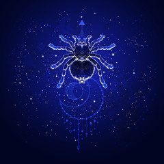 Vector illustration with hand drawn spider tarantula and Sacred geometric symbol against the starry sky. Abstract mystic sign. Linear shape