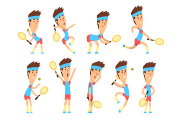 Set of young tennis player standing with racket in hand in different poses. Active sports game. Cartoon boy character in blue t-shirt and red shorts. Flat vector design