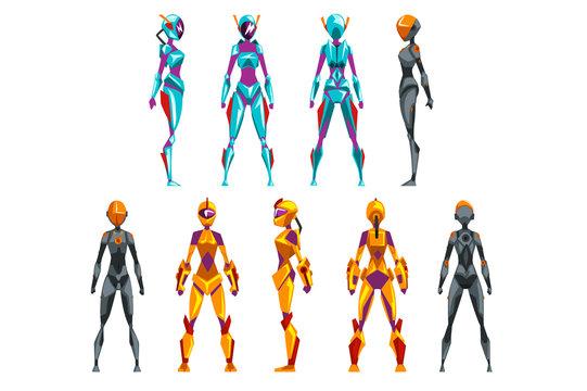 Robot costumes set, superhero woman vector Illustrations
