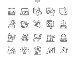Goal Setting Well-crafted Pixel Perfect Vector Thin Line Icons 30 2x Grid for Web Graphics and Apps. Simple Minimal Pictogram