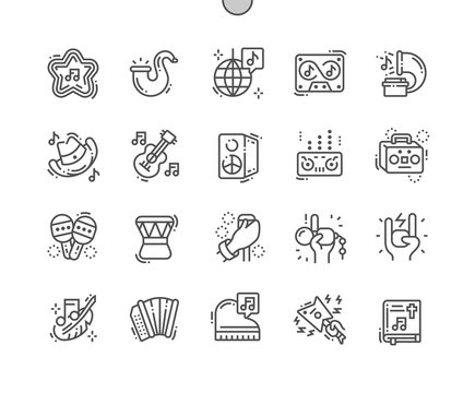Musical genres Well-crafted Pixel Perfect Vector Thin Line Icons 30 2x Grid for Web Graphics and Apps. Simple Minimal Pictogram