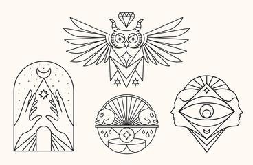 Owl, skull, eye and face. Mystic Symbols vector illustration.