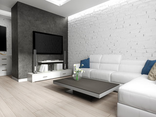 modern interior of living room, 3d rendering