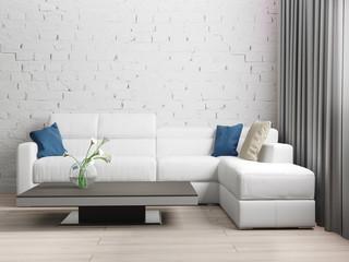 modern interior of living room, 3d rendering