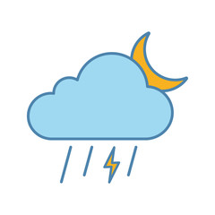 Night thunderstorm color icon