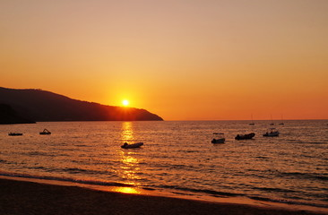 Sunset in the Bay of Procchio, Elba island, Tuscany, Italy