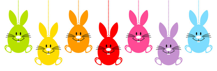 Set 7 Hanging Easter Eggs Bunny Full Color