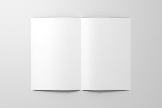 Blank half-folded flyer leaflet