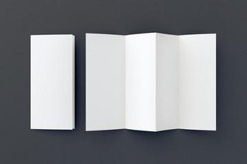 Blank folded paper leaflet.