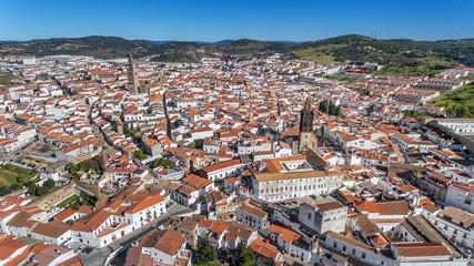 Aerial. Historic Spanish village Jerez de los Caballeros filmed from the sky.