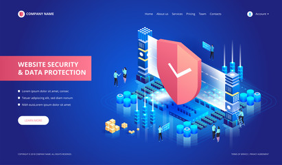 Website Security and Data Protection. Vector isometric illustration