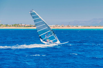 a windsurfer on a board under a praus at a speed moves along the surface of the sea